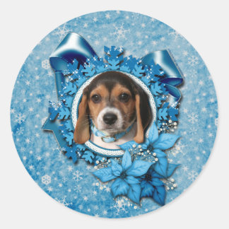 Christmas - Blue Snowflake - Beagle Puppy Sticker