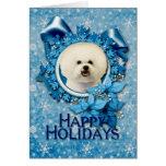Christmas - Blue Snowflake - Bichon Frise Greeting Card