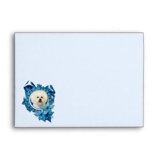 Christmas - Blue Snowflake - Bichon Frise Envelopes