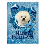 Christmas - Blue Snowflake - Bichon Frise Postcard