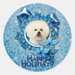 Christmas - Blue Snowflake - Bichon Frise Classic Round Sticker