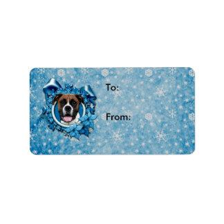 Christmas - Blue Snowflake - Boxer - Vindy Custom Address Label