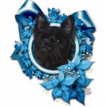 "Christmas - Blue Snowflake - Cairn Terrier - Rosco Statuette<br><div class=""desc"">This is a beautiful Christmas holiday design called Blue Snowflakes featuring a Cairn Terrier dog that I have photographed.</div>"