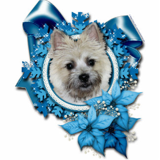 Christmas -Blue Snowflake Cairn Terrier Teddy Bear Photo Sculpture