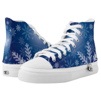 Christmas Blue Snowflake Christmas Pattern High-Top Sneakers