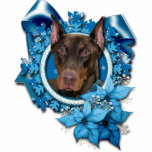 "Christmas - Blue Snowflake - Doberman - Rocky Cutout<br><div class=""desc"">This is a beautiful Christmas holiday design called Blue Snowflakes featuring a Doberman dog that I have photographed.</div>"