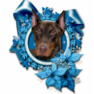 Christmas - Blue Snowflake - Doberman - Rocky Photo Sculpture Ornament