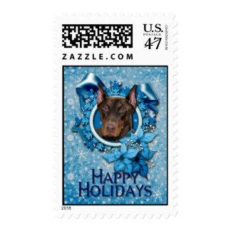 Christmas - Blue Snowflake - Doberman - Rocky Postage