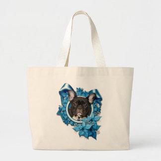 Christmas - Blue Snowflake - French Bulldog - Teal Bag