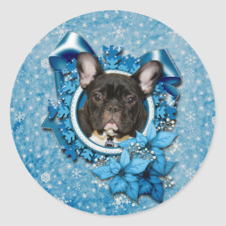 Christmas - Blue Snowflake - French Bulldog - Teal Stickers