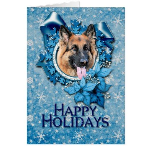 Christmas - Blue Snowflake -German Shepherd Chance Card