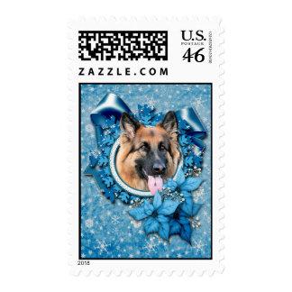 Christmas - Blue Snowflake -German Shepherd Chance Postage Stamp