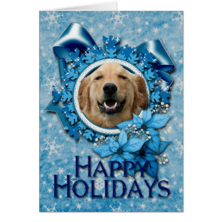 Christmas - Blue Snowflake - Golden Retriever Greeting Card