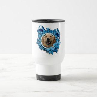 Christmas - Blue Snowflake - Golden Retriever 15 Oz Stainless Steel Travel Mug