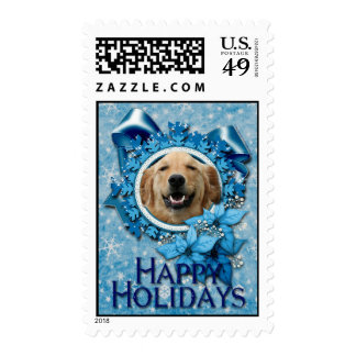 Christmas - Blue Snowflake - Golden Retriever Stamps