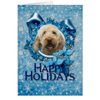 Christmas - Blue Snowflake - Goldendoodle Card