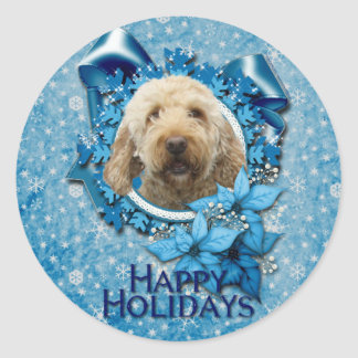Christmas - Blue Snowflake - Goldendoodle Classic Round Sticker