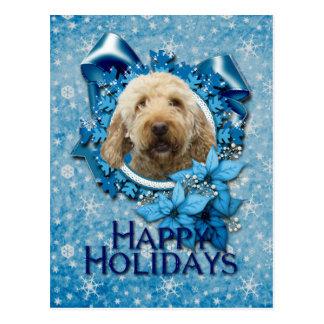 Christmas - Blue Snowflake - Goldendoodle Postcard