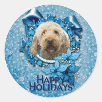 Christmas - Blue Snowflake - Goldendoodle Sticker