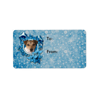 Christmas - Blue Snowflake - Jack Russell Personalized Address Label