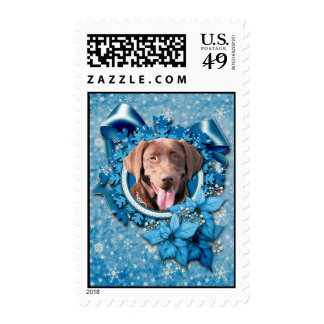 Christmas - Blue Snowflake - Labrador - Chocolate Postage