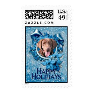 Christmas - Blue Snowflake - Labrador - Chocolate Stamps