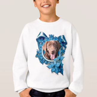 Christmas - Blue Snowflake - Labrador - Chocolate Sweatshirt