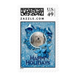 Christmas - Blue Snowflake - Lowchen Stamp
