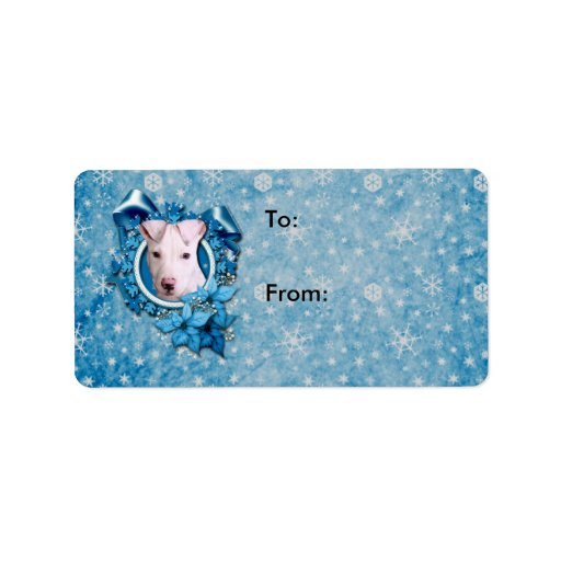 Christmas - Blue Snowflake - Pitbull - Petey Personalized Address Label