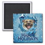 Christmas - Blue Snowflake - Pitbull - Tigger Refrigerator Magnet