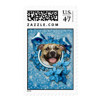 Christmas - Blue Snowflake - Pitbull - Tigger Postage Stamp