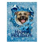 Christmas - Blue Snowflake - Pitbull - Tigger Post Cards