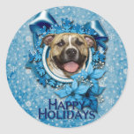 Christmas - Blue Snowflake - Pitbull - Tigger Round Sticker