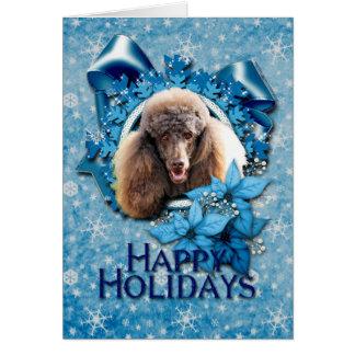 Christmas - Blue Snowflake - Poodle - Chocolate Card