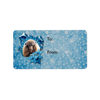 Christmas - Blue Snowflake - Poodle - Chocolate Address Label