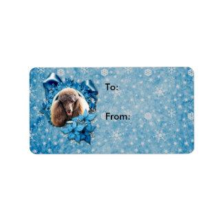 Christmas - Blue Snowflake - Poodle - Chocolate Address Label