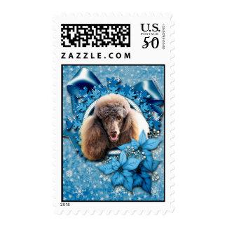 Christmas - Blue Snowflake - Poodle - Chocolate Postage