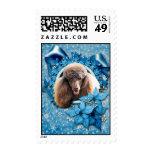 Christmas - Blue Snowflake - Poodle - Chocolate Postage Stamp