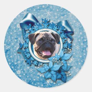 Christmas - Blue Snowflake - Pug Round Sticker