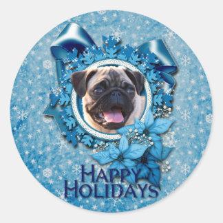 Christmas - Blue Snowflake - Pug Classic Round Sticker