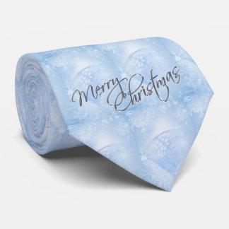 Christmas Blue Snowflake Ribbon Men's Tie