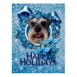 Christmas - Blue Snowflake - Schnauzer Postcard
