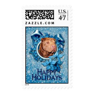 Christmas - Blue Snowflake - Shar Pei - Lucky Postage
