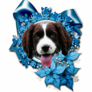 Christmas - Blue Snowflake - Springer Spaniel Photo Sculpture Ornament