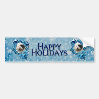 Christmas - Blue Snowflake - Tibetan Terrier Bumper Stickers