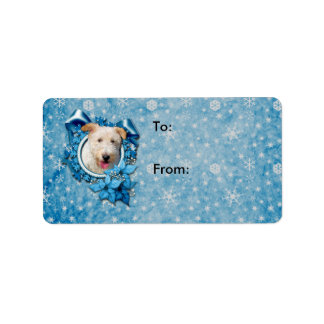 Christmas - Blue Snowflake Wire Fox Terrier Hailey Label