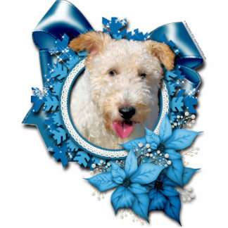 Christmas - Blue Snowflake Wire Fox Terrier Hailey Cut Outs