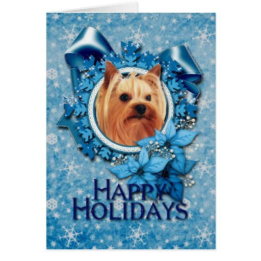 Christmas - Blue Snowflake - Yorkshire Terrier Card