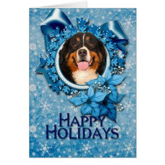Christmas - Blue Snowflakes - Bernese Mountain Dog Card