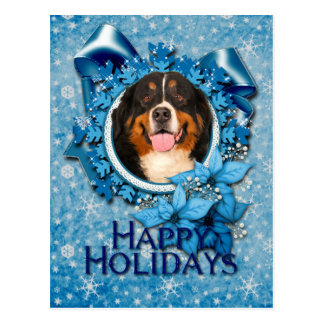 Christmas - Blue Snowflakes - Bernese Mountain Dog Post Cards